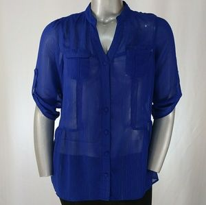 Blue Sheer 3/4 Sleeve Blousewith Sparkle, 1X